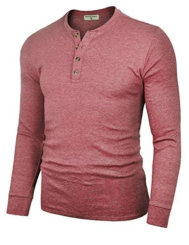 - Derminpro Men's Henley Shirts Casual Slim Fit Cotton Shirts Long Sleeve Wine Red Medium