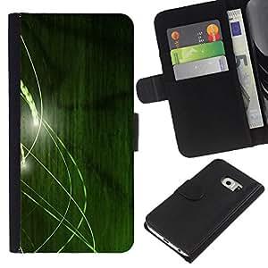 KingStore / Leather Etui en cuir / Samsung Galaxy S6 EDGE / Líneas Verdes