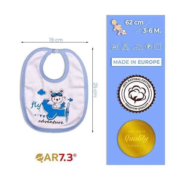QAR7.3 Completo Vestiti Neonato 3-6 mesi - Set Regalo, Corredino da 5 pezzi: Body, Pigiama, Bavaglino e Cuffietta (Blu… 5