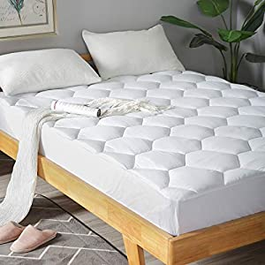 Full Mattress Pad, 8-21″ Deep Pocket Protector Ultra Soft Quilted Fitted Topper Cover Breathable Fit for Dorm Home Hotel -White