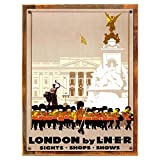 Wood-Framed London By LNR Metal Sign: Travel Decor Wall Accent, Vintage Advertising on reclaimed, rustic wood