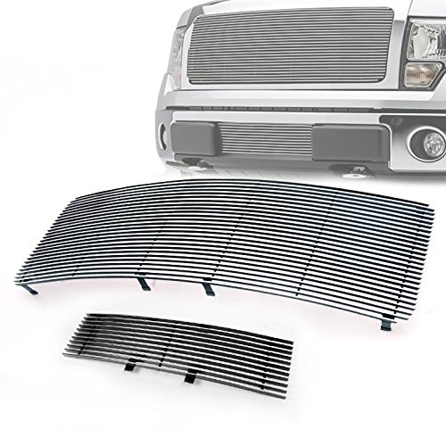 ZMAUTOPARTS Ford F150 Pickup Main Upper + Bumper Lower Billet Grille Grill Horizontal