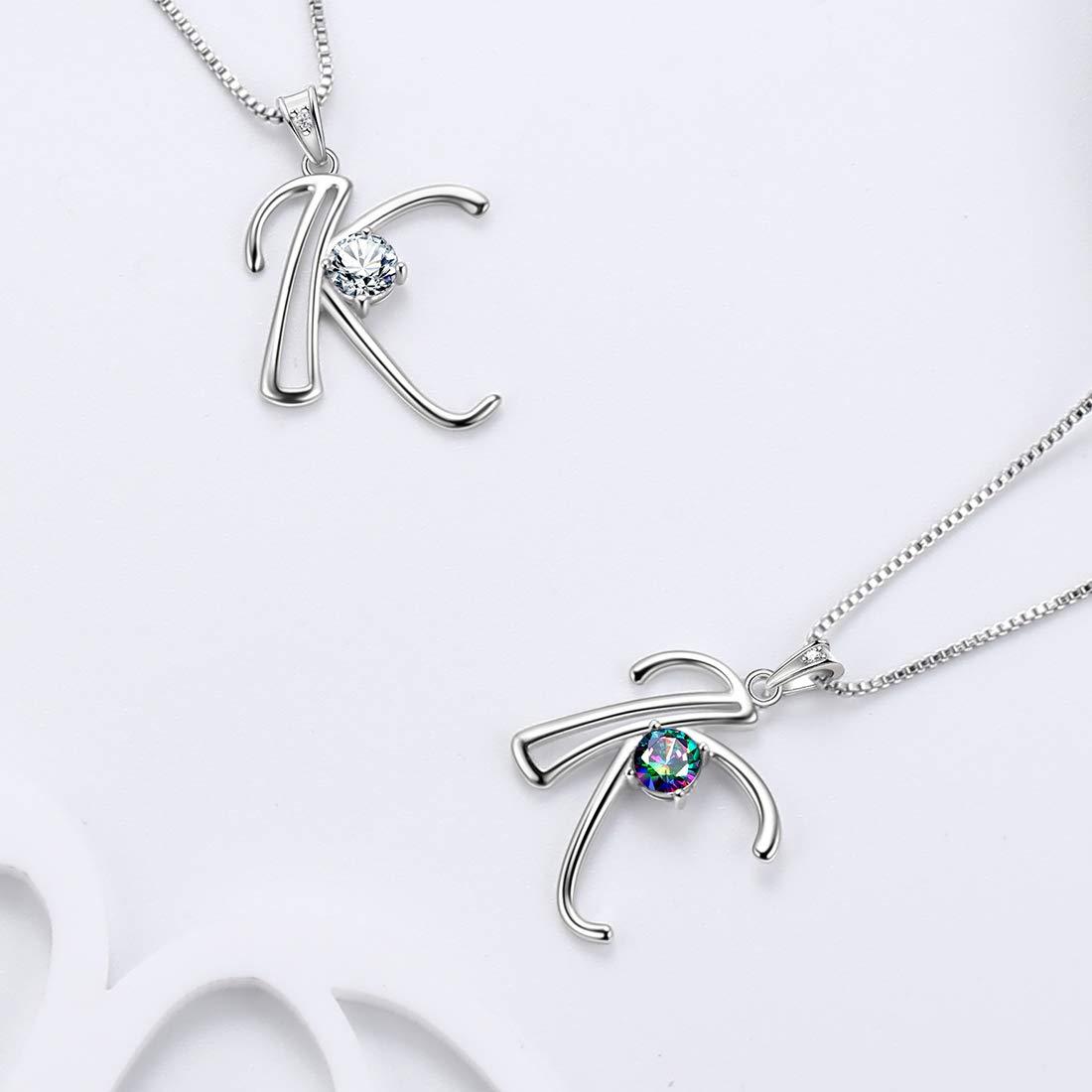 Aurora Tears Ciondolo con Alfabeto Iniziale dalla A alla Z 26 collane in Argento Sterling 925 con Regali mistici di Topazio Arcobaleno Mistico per Donne e Ragazze
