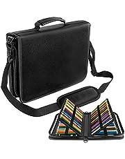 YOUSHARES 160 Slots Potlood Case - PU Lederen Grote Capaciteit Rits Pen Bag Stationaire Organizer met Verstelbare Riem voor Artiest en Studenten (Zwart)