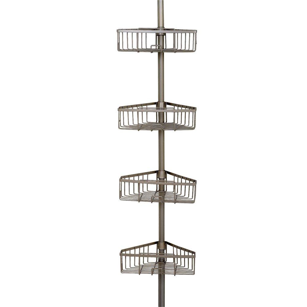 Zenna Home Rust-Resistant Tension Corner Pole Caddy, Satin Nickel by Zenna Home
