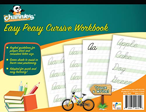 Most Visual Cursive Workbook! Simple & easy. Channie's Easy Peasy Cursive workbook 80 pages 8 x 11.5 with hardboard back learn Cursive never be easier!]()
