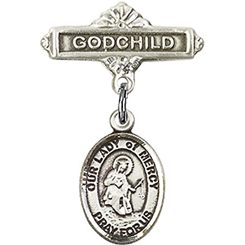Sterling Silver Baby Badge with Our Lady of Mercy Charm and Godchild Badge Pin 1 X 5/8 inches by Unknown