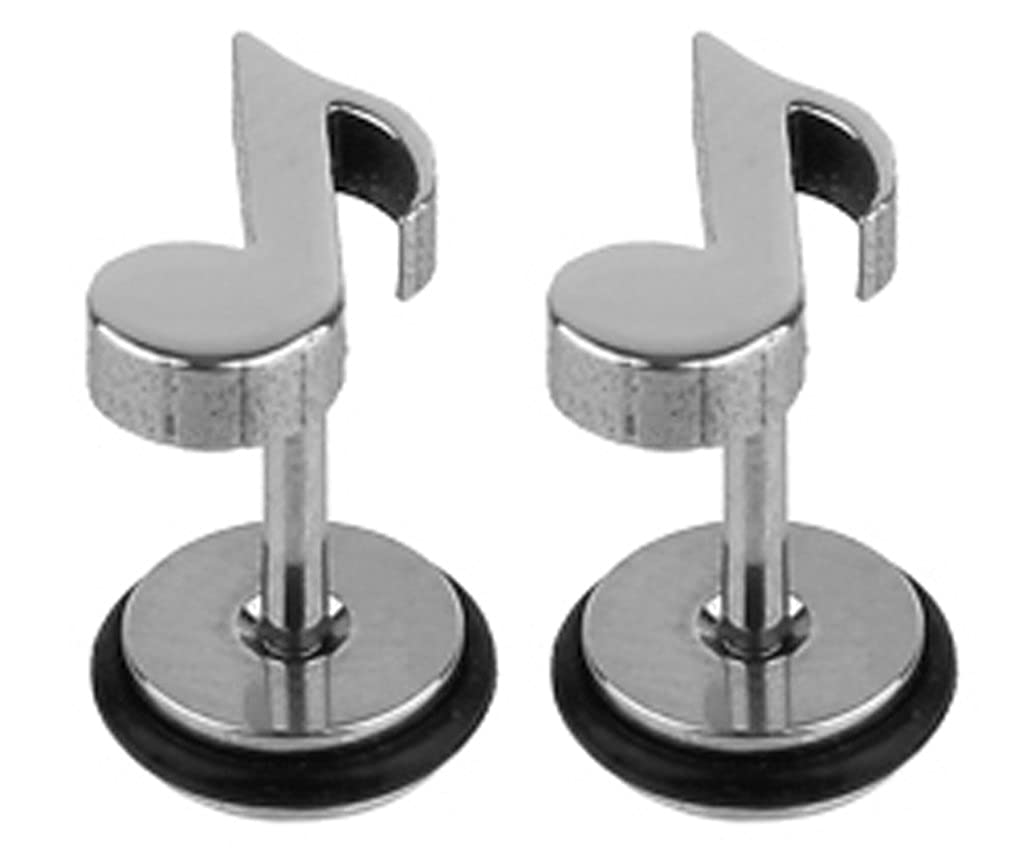 trending jewels Surgical Steel 316L Fake Plugs Note Symbol