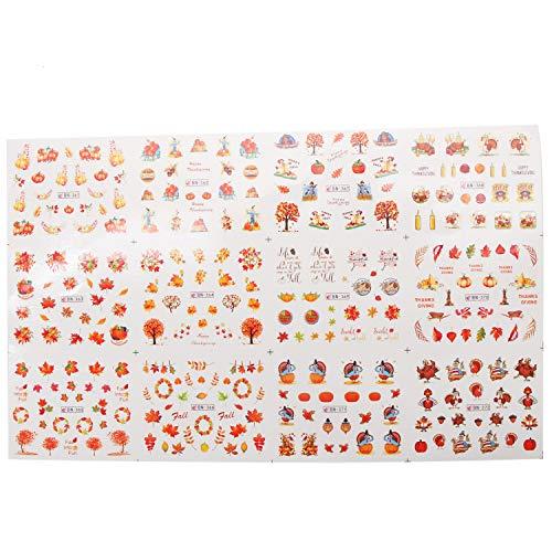 JETEHO 13 Sheets Fall Leaves Nail Art 3D Stickers Thanksgiving Theme Nail Art Nail -