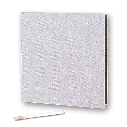 - Self Adhesive Photo Album Magnetic Scrapbook Album 40 Pages Linen Hardcover Length 11 x Width 10.6 (Inches) with A Metallic Pen and Photo Album Storage Box DIY Accessories Kits (Grey)