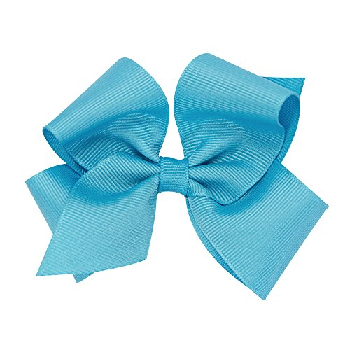 (Wee Ones Baby Girls' Small Classic Grosgrain Hair Bow on a WeeStay Clip w/Plain Wrap - Turquoise)
