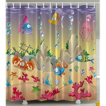 Perfect Kids Shower Curtain By Ambesonne, Cartoon Sea Animals Orange Crabs Family  Decor Beach Blue Stars