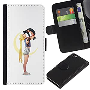 LECELL--Cuero de la tarjeta la carpeta del tirón Smartphone Slots Protección Holder For Apple Iphone 6 -- Niña Gata --