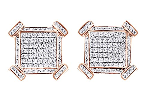 Round Cut Genuine Diamond Hip Hop Cluster Stud Earrings 14K Rose Gold Over Sterling Silver (1.43 Cttw) by wishrocks