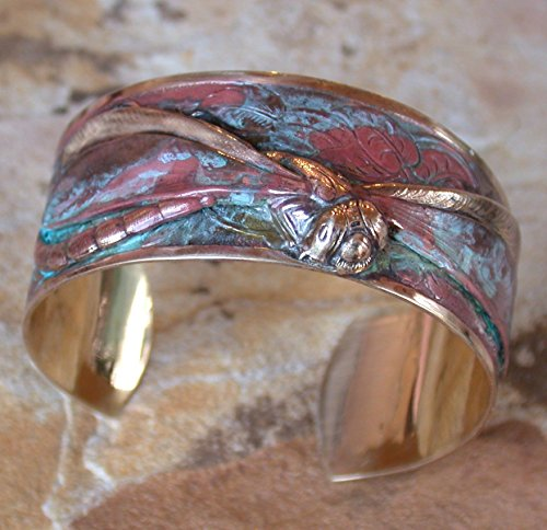 Verdigris Patina Dragonfly Cuff Bracelet