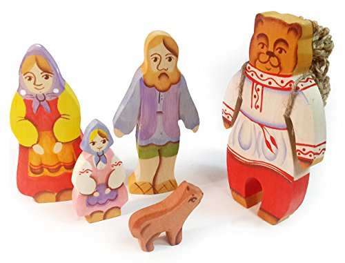 5 pc Set Masha And the Bear - Russian Wooden Fairytale Character Toys - Natural Waldorf Dolls