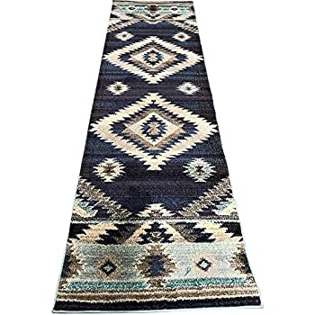 Expressions South West Native American Indian Runner Area Rug Turquoise Beige Grey Blue Purple Storm Blue Design 1033 (2 Feet 2 Inch X 7 Feet)