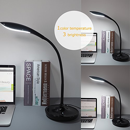 Ominihome Desk Lamp Office Swing Arm, LED Dimmable Folding Gooseneck Reading Lights with USB Charging Port, Touch Sensor, Piano Black, for Office/Bedroom/College, Birthday Gift, Back to School