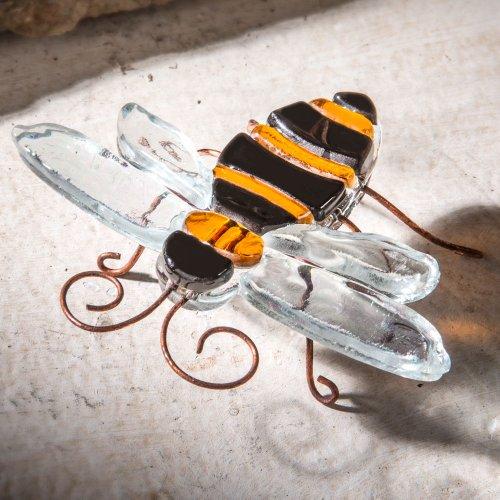 J Devlin Fused Glass Art Bumble Bee Yellow Jacket Terrarium