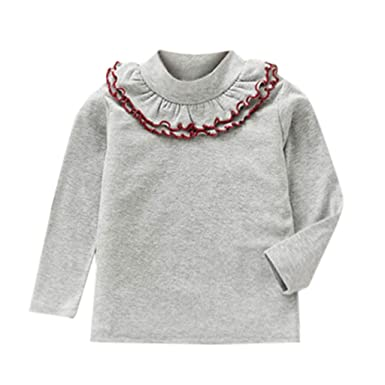 6a9633004 Zerototens Girls Plain T-Shirt,Toddler Infant Baby Girls Solid Basic Tee  Top Kids Long Sleeve Crewneck Ruffles T Shirt Pullover Tops 1-5 Years Old:  ...