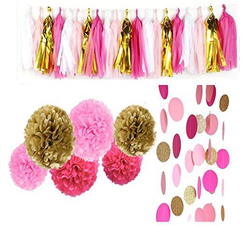 28 pcs Rose Pink Glitter Gold Tissue Paper Pom Pom Tissue Pom Pom Paper Tassel Garland Polka Circle Dot Paper Garland for Decor Wedding Bridal Pink Gold Birthday Baby Shower