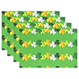 ALAZA St. Patrick's Day Shamrock Placemats Heat-resistant Washable Table Mats 12 X 18 Inch Placemats for Family Kitchen Hotel Coffee Shop Dinning Restaurant Set of 4
