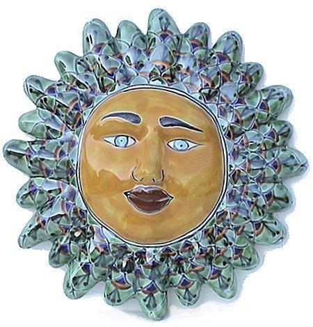 Green Peacock Talavera Ceramic Sun Face (Hand Painted Mexican Pottery)