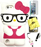 Bukit Cell ® Hello Kitty Nerd Case Bundle - 5 items: HOT PINK 3D Hello Kitty ( with Glasses ) Silicone Case for iPod Touch 6th/ 5th + BUKIT CELL Trademark Cloth + Hello Kitty Figure Stylus Touch Pen + Screen Protector + METALLIC Stylus Touch Pen
