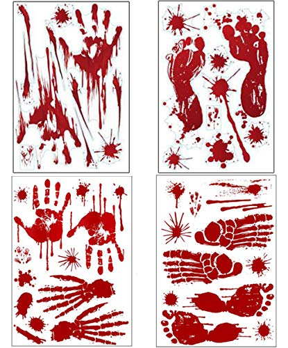 (Laswumen Bloody Handprints/Footprints Horror Stickers for Halloween Decor,Removable Halloween Window Decals Wall Stickers Decor 8)