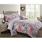 Shabby Chic Patchwork Stitch Reversible Duvet Cover Bedding Set Pink, Double by Velosso