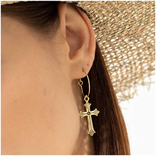 (ACC PLANET Cross Earrings 14K Gold Plated Dangle Vintage Hoop Cross Earrings for Women Girls)