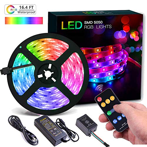 - Led Strip Lights Music Sync, 16.4ft/5m Dream Color LED Light Strip Built-in IC, RGB 150LEDs SMD5050 Flexible Chase Effect Rope Strip Lighting for Indoor Bedroom, 12V Power Supply