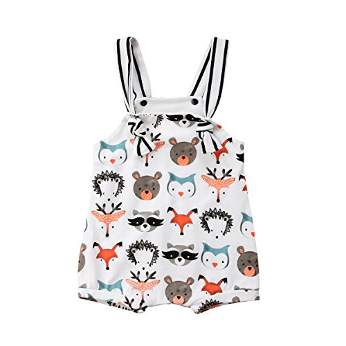 Honganda Cute Newborn Baby Girl Boy Animal Print Sleeveless Romper Jumpsuit One-Piece Bodysuit (White, 6-12 Months)