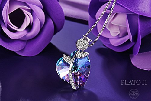 Swarovski Element Necklace Color Changing Crystal Rose Love Pendant Necklace for Women, Birthday Birthstone Jewelry Gifts for Girl, Amethyst Purple Pink, 18'' by PLATO H (Image #2)