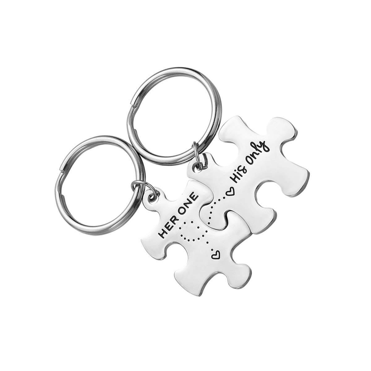 Set Her One His Only Letters Llaveros Creativos Puzzle Pareja Llaveros Regalo para los Amantes 2pcs