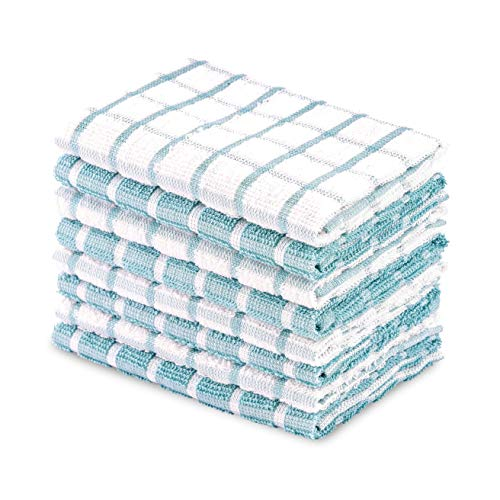 DAILY HOME ESSENTIALS 100% Cotton Terry Dishcloth, Quick Dry Kitchen Rag | Absorbent Cafe, Bar & Restaurant Cleaning WashCloth | 8 Pack 12 x 12 inch - Aqua (Kitchen Lights Blue)