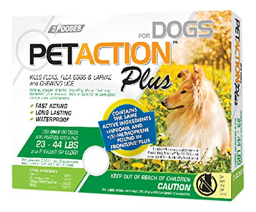 Pet Action Plus Flea & Tick Treatment for Medium Dogs, 23-44 lbs, 3 Month Supply