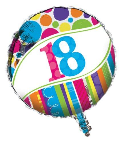 (Creative Converting Bright and Bold 18th Birthday 2-Sided Round Mylar Balloon)