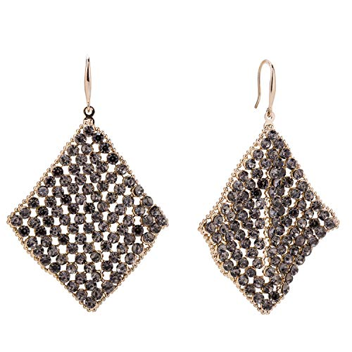 SILVERAL Dangle Earrings Sequin Mesh Square Drop Earrings Hook Earrings for Women(Sequin Square Golden) ()