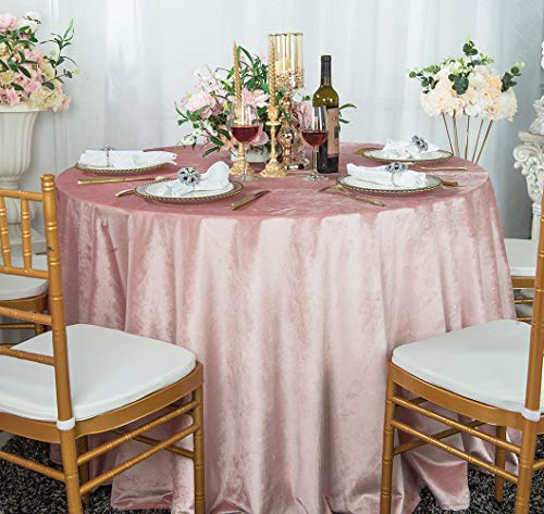 "Wedding Linens Inc. 120"" Seamless Italian Velvet Tablecloths for Restaurant Kitchen Dining Wedding Party Banquet Events - Blush Pink"