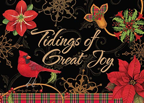 """Search : African American Expressions - Tidings of Great Joy/Cardinal & Poinsettia Boxed Christmas Cards (15 cards, 5"""" x 7"""") C-926"""