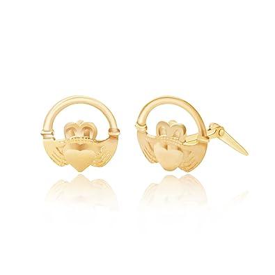 e0e38a006 9ct yellow gold, Claddagh ring Andralok stud earrings / Gift box:  Amazon.co.uk: Jewellery
