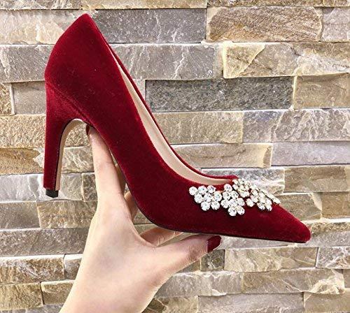 color Hhgold Boda 36 De Fina Tamaño Corte Altos Con Señaló Rhinestone Princesa Femeninos La Rojos Femenina Tacones Nupciales Individuales Negro Zapatos BBxw1qp