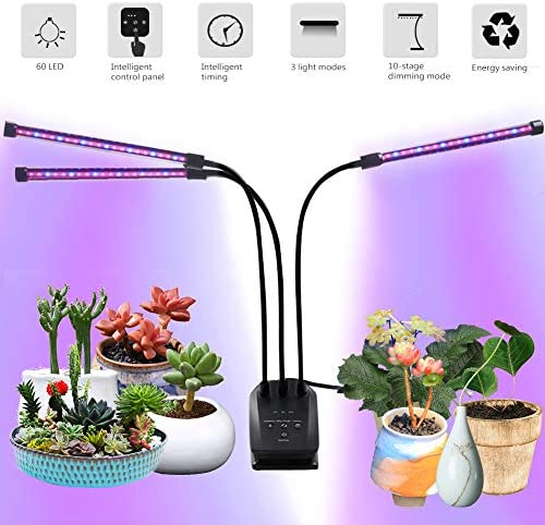 GROSSYLAND LED Grow Light Red Blue Spectrum for Indoor Plants with Timer, 2-Head Plant Growing Lamps with 3 Switch Modes and 6 Levels Dimmable for Succulent Plants, Hydroponic Plants
