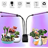 Plant Grow Lights for Indoor, 60 LED Chips Full Spectrum with UV&IR, 3/6/12H Timing Grow Lamp,10 Dimmable Levels 30W 3-Head Adjustable 360°Flexible Gooseneck