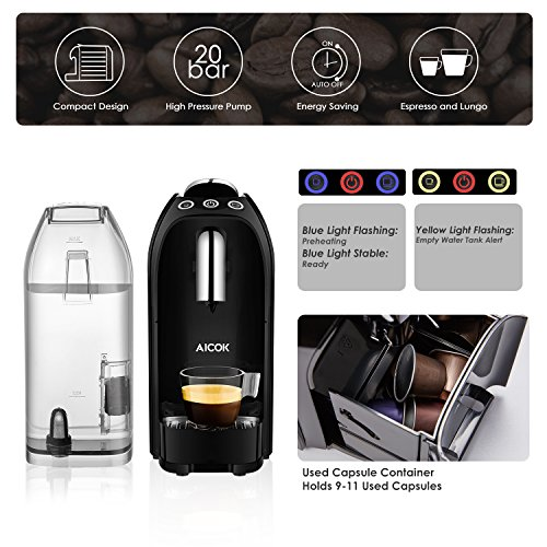 aicok espresso machine for nespresso compatible capsule 20 bar high pressure pump 25s fast. Black Bedroom Furniture Sets. Home Design Ideas