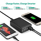 USB Quick Charger RAVPower 60W 6-Port Fast Charger Desktop Charger Charging Station with Quick Charge 3.0 for Galaxy S7/S6/Edge, Note 5 and iSmart for iPhone 7/6s/Plus, iPad, LG, Nexus 6, HTC & More