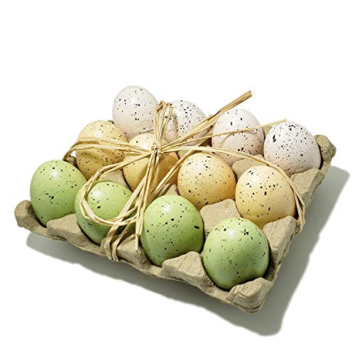 WsCrafts 12 Pcs Natural Speckled Foam Easter Eggs in Crate - Easter Eggs Decorative - Easter Ornaments(60mm)