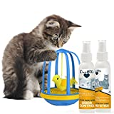 OurPets Bird in a Cage Electronic Cat Toy (1400013433) with 4 Oz. Odor Control and 4 Oz. No Stick Litter Box Spray Bundle