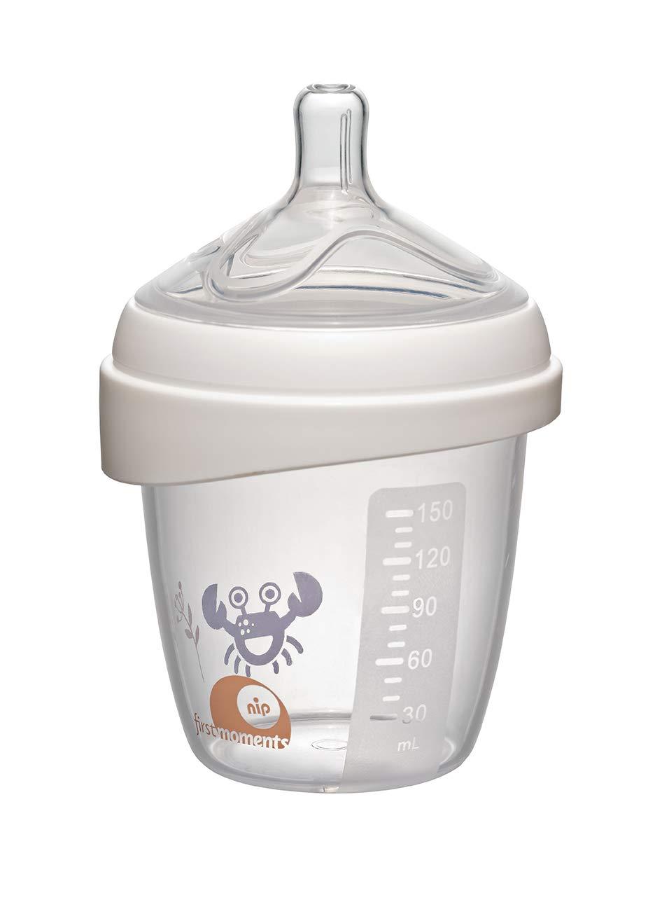 mit extra breiter Lippenauflage speziell f/ür Neugeborene S Sauger 150 ml NIP first moments Babyflasche Silikon